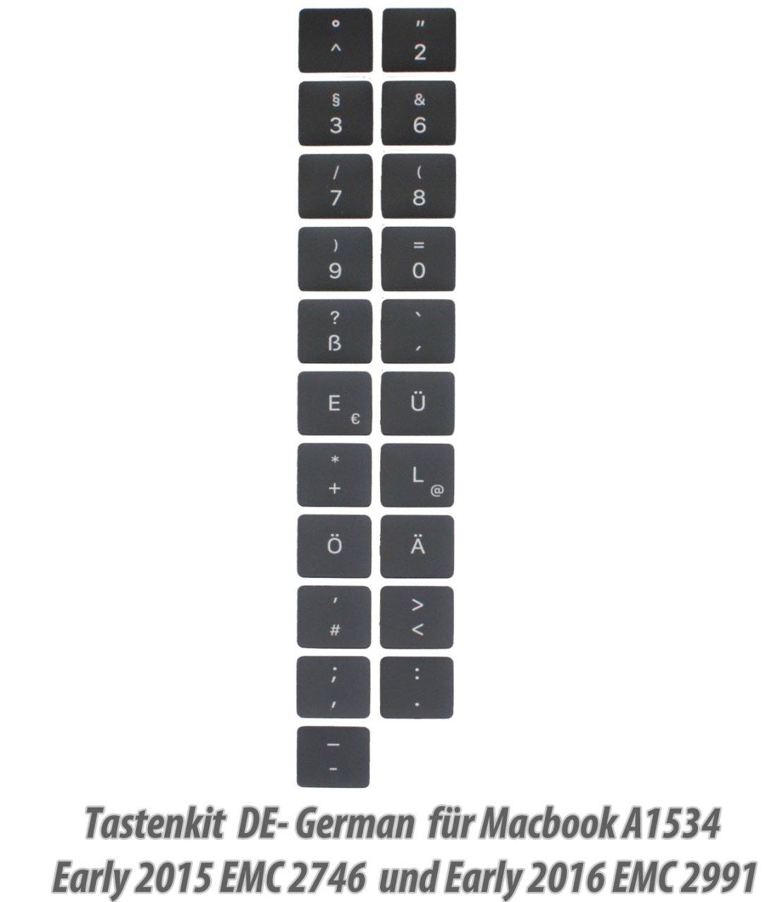 1x Tasten,Tastaturkit German Macbook Retina, 12-inch, Early 2015 /2016 A1534