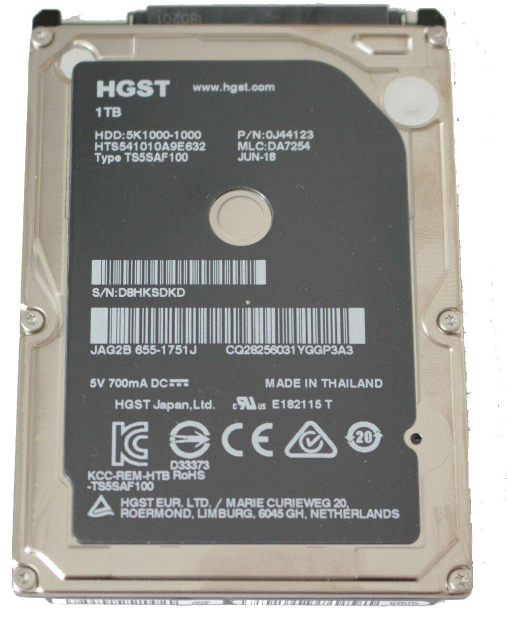 original Apple Hard Drive, 1 TB, SATA, 2.5, 5400 661-7107