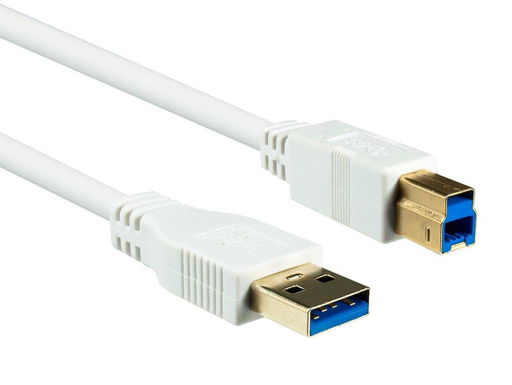Dinic USB 3.0-Kabel A-Stecker/B-Stecker 2m weiß Blister